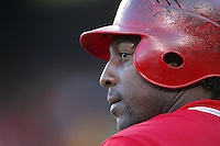Vladimir Guerrero of the Los Angeles Angels during a 2007 MLB season game at Angel Stadium in Anaheim, California. (Larry Goren/Four Seam Images)