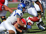 Memphis Tigers defensive back MITCH HUELSING (41) causes Southern Methodist Mustangs running back ZACH LINE(48) to fumble during the game between the Memphis Tigers and the Southern Methodist Mustangs at the Gerald J. Ford Stadium in Dallas, Texas. Memphis defeats SMU 48 to 3...