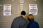 Monicas Story by Monica Lewinsky promotional tour fans wait outside book shop Lakeside Shopping Centre Essex 1999 1990s UK
