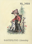Interlitho, CHILDREN, nostalgic, paintings, boy, cat, bird(KL3622,#K#) Kinder, niños, nostalgisch, nostálgico, illustrations, pinturas