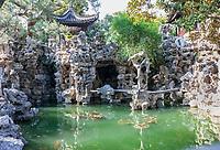 Yangzhou, Jiangsu, China.  Ge Garden Pond and Rock Formations.
