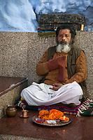 India, Dehradun.  Hindu Sadhu (Holy Ascetic) in the Tapkeshwar Hindu Temple.
