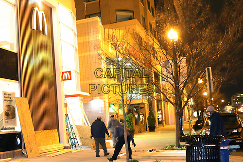 WASHINGTON, D.C. - JANUARY 4: View of a McDonald's business being boarded up two days prior to the January 6 Pro-Trump 'March For Trump' rally in the Washington, DC Area on January 4, 2021. <br /> CAP/MPI34<br /> ©MPI34/Capital Pictures