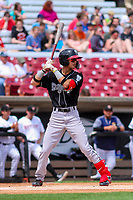 Lansing Lugnuts second baseman Kevin Vicuna (3) at bat during a Midwest League game against the Wisconsin Timber Rattlers on May 8, 2018 at Fox Cities Stadium in Appleton, Wisconsin. Lansing defeated Wisconsin 11-4. (Brad Krause/Four Seam Images)