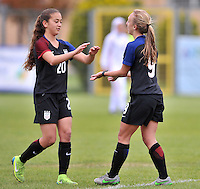 Monfalcone, Italy, April 26, 2016.<br /> USA's #9 Vatne (R) celebrating with #Yates (L) after scoring opening goal during USA v Iran football match at Gradisca Tournament of Nations (women's tournament). Monfalcone's stadium.<br /> © ph Simone Ferraro / Isiphotos