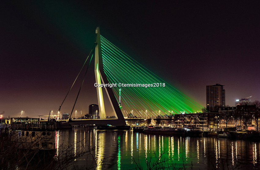 Rotterdam, The Netherlands, 18 Februari, 2018, ABNAMRO World Tennis Tournament, The Erasmus bridge in the ABNAMRO Bank colors<br /> <br /> Photo: www.tennisimages.com