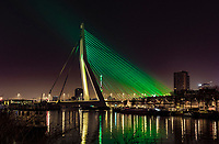 Rotterdam, The Netherlands, 18 Februari, 2018, ABNAMRO World Tennis Tournament, The Erasmus bridge in the ABNAMRO Bank colors<br />
