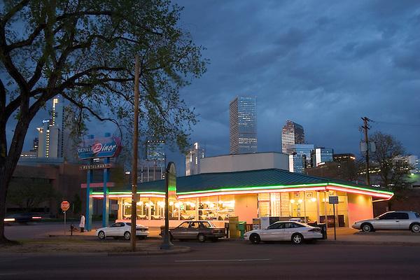 The Denver Diner at night, Denver, Colorado, USA John offers private photo tours of Denver, Boulder and Rocky Mountain National Park.