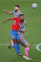 Angelo Balanta of Dagenham and Redbridge and Danny Green of Wealdstone during Dagenham & Redbridge vs Wealdstone, Vanarama National League Football at the Chigwell Construction Stadium on 10th October 2020