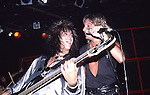 Vince Neil& Nikki Sixx of Motley Crue  at The Roxy in Hollywood Aug 1986.
