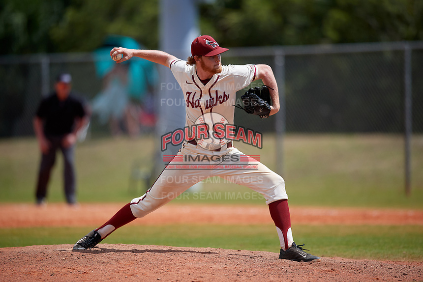 Saint Joseph's Hawks relief pitcher Ryan Devine (12) during a game against the Ball State Cardinals on March 9, 2019 at North Charlotte Regional Park in Port Charlotte, Florida.  Ball State defeated Saint Joseph's 7-5.  (Mike Janes/Four Seam Images)
