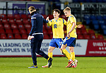Ross County v St Johnstone…02.01.21   Global Energy Stadium     SPFL<br />Danny McNamara after playing his last game for saints pictured at full time with Liam Craig and Ali McCann<br />Picture by Graeme Hart.<br />Copyright Perthshire Picture Agency<br />Tel: 01738 623350  Mobile: 07990 594431