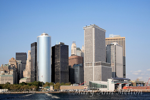 The View New York City Lower Manhattan from the Statten Island Ferry.
