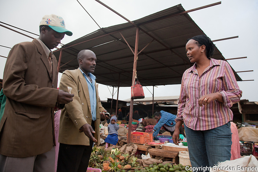 Entreprenuer Mary Cherop Maritim still shops at the market in Kangemi slum where she started her business packaging pre-cooked then frozen, Kenyan staples.
