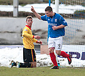 Cowdenbeath's Craig Moore celebrates after he scores their first goal.