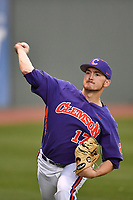 Pitcher Paul Campbell (17) of the Clemson Tigers warms up before a game against the Michigan State Spartans on Wednesday, March 8, 2017, at Fluor Field at the West End in Greenville, South Carolina. Clemson won, 9-2. (Tom Priddy/Four Seam Images)