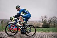 Lukas Spengler (SUI/WB Aqua Protect - Veranclassic) up the Taaienberg cobbles<br /> <br /> 61th E3 Harelbeke (1.UWT)<br /> Harelbeke - Harelbeke (206km)