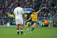 Bernard Foley of Australia takes a penalty kick during the Old Mutual Wealth Series match between England and Australia at Twickenham Stadium on Saturday 3rd December 2016 (Photo by Rob Munro)
