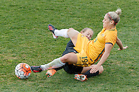June 4, 2016: KATRINA GORRY (19) of Australia is fouled by KATIE DUNCAN (4) of New Zealand during an international friendly match between the Australian Matildas and the New Zealand Football Ferns as part of the teams' preparation for the Rio Olympic Games at Morshead Park in Ballarat. Photo Sydney Low