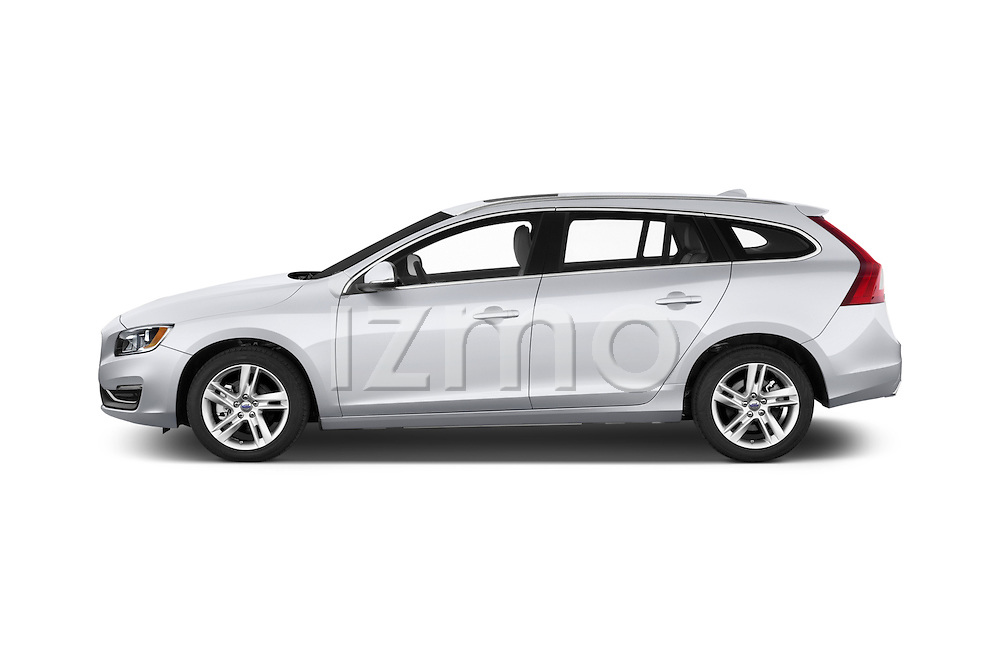 Car Driver side profile view of a2015 Volvo V60 Xenium T5 Drive-E FWD 5 Door Wagon Side View