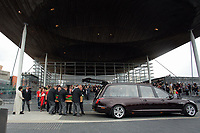 """Pictured: The coffin is carried into a hearse outside the Senedd Wednesday 31 May 2017<br />Re: The funeral for former first minister Rhodri Morgan has taken place in the Senedd in Cardiff Bay.<br />The ceremony, which was open to the public, was conducted by humanist celebrant Lorraine Barrett.<br />She said the event was """"a celebration of his life through words, poetry and music"""".<br />Mr Morgan, who died earlier in May aged 77, served as the Welsh Assembly's first minister from 2000 to 2009.<br />He was credited with bringing stability to the fledgling assembly during his years in charge.<br />It is understood Mr Morgan had been out cycling near his home when he died."""