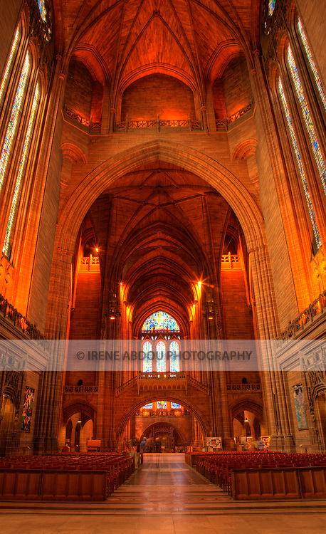 High dynamic range (HDR) imaging shows off the intricate architecture of the  of an interior section of the Roman Catholic Metropolitan Cathedral of Liverpool in England's 5th most populous city.  One of the tallest cathedrals in the world, it rises up to 100 meters high and is a popular and beautiful destination for tourists to the city.