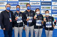 BARELLI Paolo, ACERENZA Domenico, PALTRINIERI Gregorio, BRUNI Rachele, GABBRIELLESCHI Giulia ITA Gold Medal<br /> Team Event 5 km <br /> Open Water<br /> Budapest  - Hungary  15/5/2021<br /> Lupa Lake<br /> XXXV LEN European Aquatic Championships<br /> Photo Andrea Staccioli / Deepbluemedia / Insidefoto