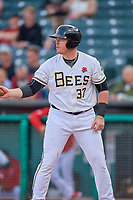 Justin Bour (37) of the Salt Lake Bees bats against the Tacoma Rainiers at Smith's Ballpark on May 27, 2019 in Salt Lake City, Utah. The Bees defeated the Rainiers 5-0. (Stephen Smith/Four Seam Images)