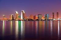 The downtown San Diego skyline at night as viewed from Coronado, San Diego, California