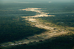 Aerial view (taken just after sunrise) of Miombo woodland and grassland mosaic. Kasanka National Park, Zambia.