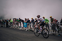 Julian Alaphilippe (FRA/Quick-Step Floors) up the brutal Col du Portet (HC/2250m/16km at 8.7%/Souvenir Henri Desgrange) in this historically short stage (only 65km)<br /> <br /> Stage 17: Bagnères-de-Luchon > Saint-Lary-Soulan (65km)<br /> <br /> 105th Tour de France 2018<br /> ©kramon