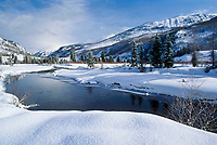 Pristine landscape of mountain vally and  Chrystal River of Colorado in winter snow