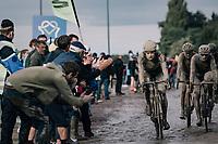 Wout van Aert (BEL/Jumbo-Visma) exiting the Carrefour de l'Arbre<br /> <br /> 118th Paris-Roubaix 2021 (1.UWT)<br /> One day race from Compiègne to Roubaix (FRA) (257.7km)<br /> <br /> ©kramon
