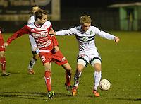 Torhout KM - FC Gullegem : Ward Stubbe (r) aan de bal voor Yoeri Flederick (links) <br /> foto VDB / BART VANDENBROUCKE