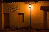 Goias Velho, Brazil. Casa da Cachaca at night.