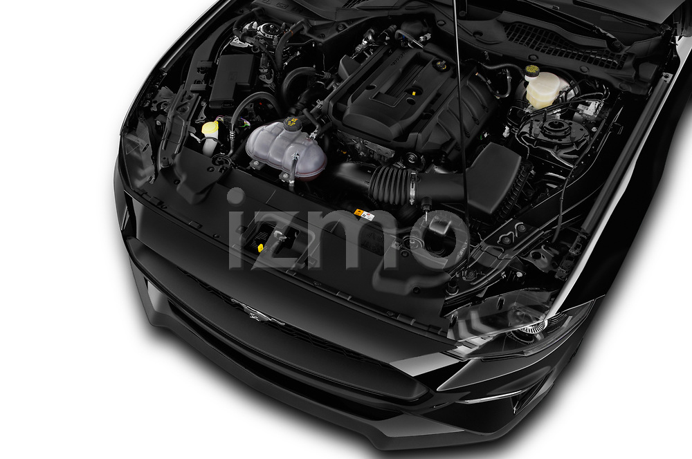 Car stock 2018 Ford Mustang EcoBoost 2 Door Coupe engine high angle detail view