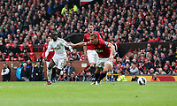 Pictured: (L-R) Nathan Dyer, Nemanja Vidic.<br /> Sunday 12 May 2013<br /> Re: Barclay's Premier League, Manchester City FC v Swansea City FC at the Old Trafford Stadium, Manchester.