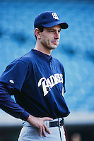 Alan Ashby of the San Diego Padres before a 1999 Major League Baseball season game against the Anaheim Angels in Anaheim, California. (Larry Goren/Four Seam Images)