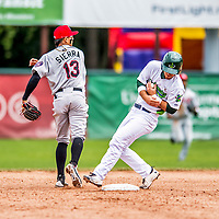 25 July 2017: Vermont Lake Monsters outfielder Payton Squier, a 16th round draft pick for the Oakland Athletics, is out at second on a force play at second for the third out of the 3rd inning by the Tri-City ValleyCats at Centennial Field in Burlington, Vermont. The Lake Monsters defeated the ValleyCats 11-3 in NY Penn League action. Mandatory Credit: Ed Wolfstein Photo *** RAW (NEF) Image File Available ***