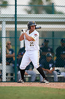 Pittsburgh Pirates Yoel Gonzalez (25) at bat during an Instructional League game against the New York Yankees on September 28, 2017 at Pirate City in Bradenton, Florida.  (Mike Janes/Four Seam Images)
