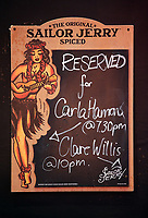 Pictured: A reserved sign on the wall. Monday 15 May 2017<br /> Re: Coyote Ugly Saloon in Cardiff, Wales, UK.