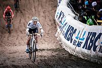 World Champion Sanne Cant (BEL/Iko-crelan) in the infamous 'Pit'<br /> <br /> CX Superprestige Zonhoven (BEL) 2019<br /> women's race