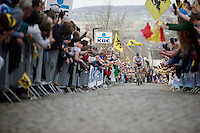 Peter Sagan (SVK/Tinkoff) puts in a strong pull up the Oude Kwaremont, seriously shifting the competition <br /> <br /> 100th Ronde van Vlaanderen 2016