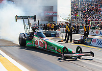 Sep 23, 2018; Madison, IL, USA; NHRA top fuel driver Leah Pritchett during the Midwest Nationals at Gateway Motorsports Park. Mandatory Credit: Mark J. Rebilas-USA TODAY Sports