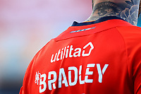 31st October 2020; Kenilworth Road, Luton, Bedfordshire, England; English Football League Championship Football, Luton Town versus Brentford; A tattoo on the neck of Sonny Bradley of Luton Town