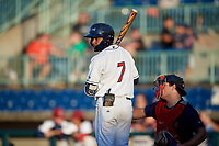 Mahoning Valley Scrappers Korey Holland (7) at bat during a NY-Penn League game against the State College Spikes on August 29, 2019 at Eastwood Field in Niles, Ohio.  State College defeated Mahoning Valley 8-1.  (Mike Janes/Four Seam Images)