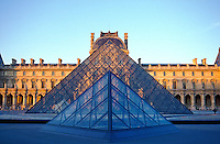 France, Paris, The Louvre with I M Pei's pyramid