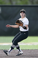 Bentonville second baseman Emily Perry (20) readies her mitt, Thursday, April 29, 2021 during a softball game at Bentonville High School in Bentonville. Check out nwaonline.com/210430Daily/ for today's photo gallery. <br /> (NWA Democrat-Gazette/Charlie Kaijo)