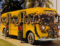 Honolulu rapid transit with lei greeters, handtinted archive photo