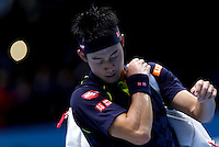 Kei Nishikori of Japan leaves the court following his loss at the ATP World Tour Finals, The O2, London, 2015